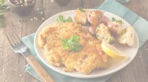 Foto eines Schnitzels mit Kartoffeln