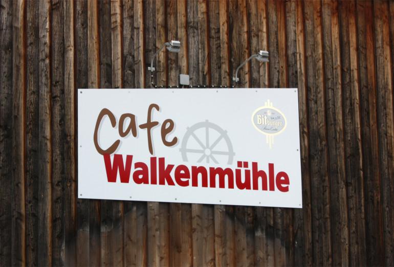Schild vom Café Walkenmuehle