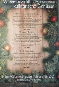 Weihnachtsmenü 2019 der Walkenmühle